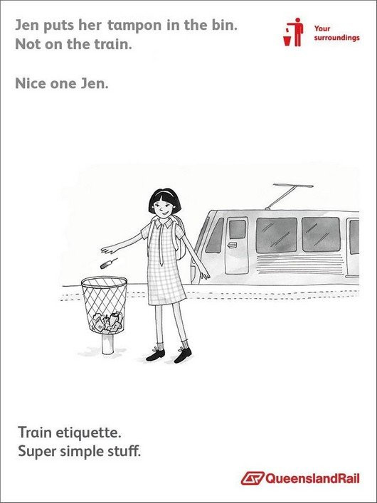 Train etiquette parody poster, jen puts tampon in the trash and not on the train
