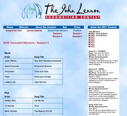 John Lennon Songwriting Contest 2012