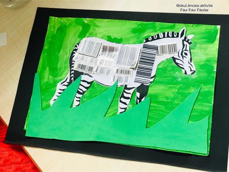 Orman hayvanları ; Barkodlardan zebra yapımı/Hayvan desen Eşleştirme