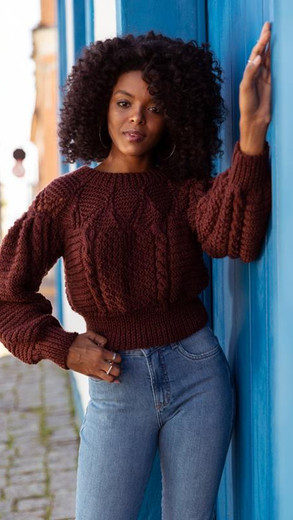 Dark Brown Yoke Pullover