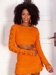 Orange Skirt & Top Set