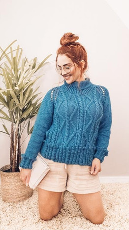 Indigo Cable Sweater