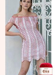 Wavy Red & White Dress by Helen Rodel