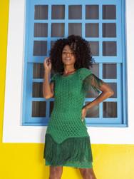 Green Dress with Tassels