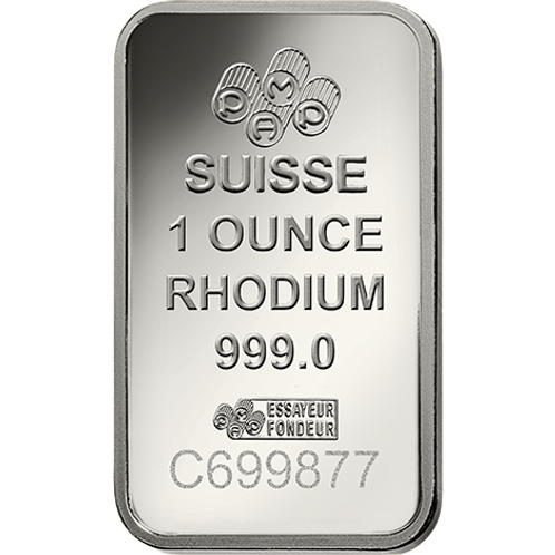 Rh Rhodium Notable Minted Bars Eagle - 1ozt