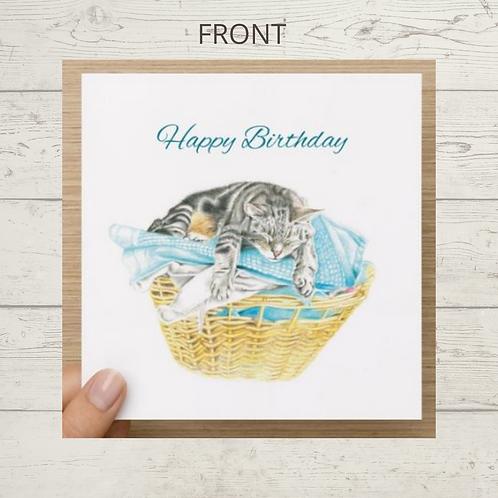 Sleepy Cat - Birthday Card