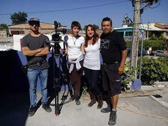 Leonardo Colunga (1st A.C.), Alicia Aguirre (D.P.), Jacqueline Blanca (actress/actriz), and Guillermo Licona (lighting designer/diseñador de iluminación).