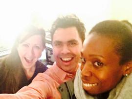 Heidi Sabertooth, Rhian Watson & Jesús in Brooklyn working on the theme song.  El equipo en Brooklyn trabajando en la canción principal de la película.