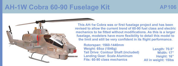 AH-1W Cobra 700 size fuselage kit