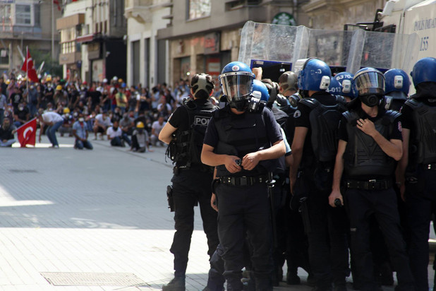 Stand off, Riot Police, Gezi Protest, Istanbul 2013