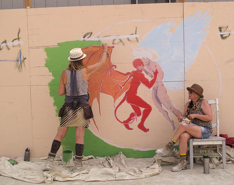 Mural painting at Burning Man