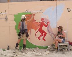 Mural painting at Burning Man