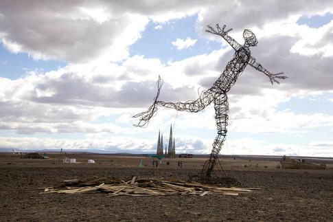 Afrikaburn man metal scultpture art installation