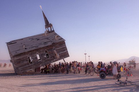 Church Trap by Rebekah Waites is an interactive wonderland for the religiously rebellious. The photo was taken at Burning Man at Black Rock City, a town dedicated to community, art and self-expression, that exists for one week a year in Nevada's desert.