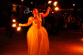 Woman dancing with fire at Afrikaburn 2016