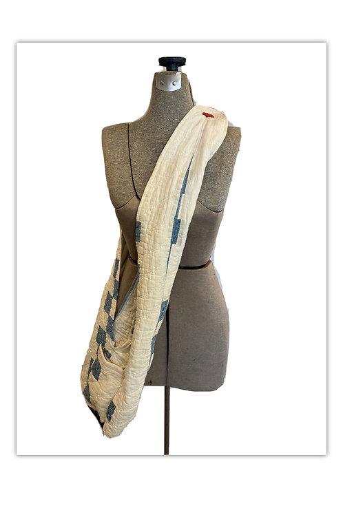 Vintage Blue & White Cotton Patchwork Quilt Bag