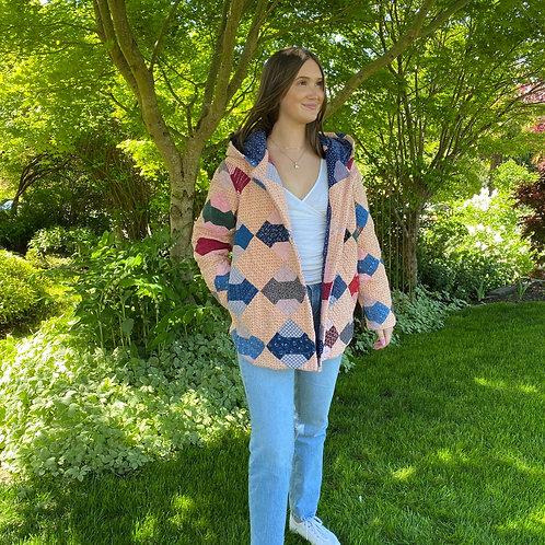 Vintage Bowtie Quilt Jacket w Hoold