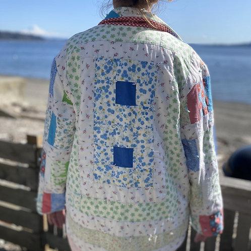 Vintage 60s Patchwork Yarn Tie Jacket