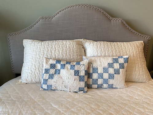 Vintage Feedsack Blue & White Checkerboard Pillow Cover