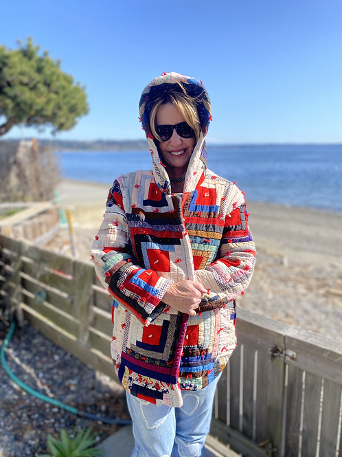 Vintage Quilted Coat of Many Colors