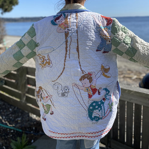 Vintage Playtime Embroidery Quilt