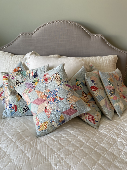 Vintage Baby Blue Star Quilt Pillows