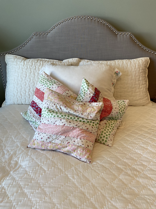 Vintage Quilted Pastel Striped Pillow Cover