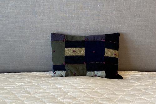 Vintage Wool Patchwork Lumbar Pillow