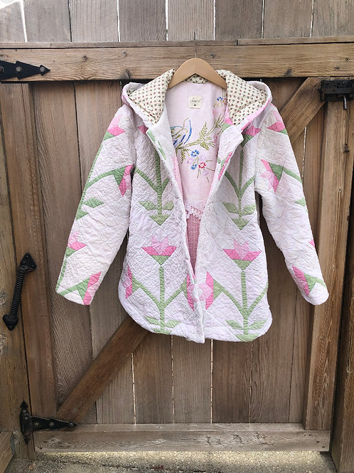 Vintage Pink and White Tulip Quilted jacket