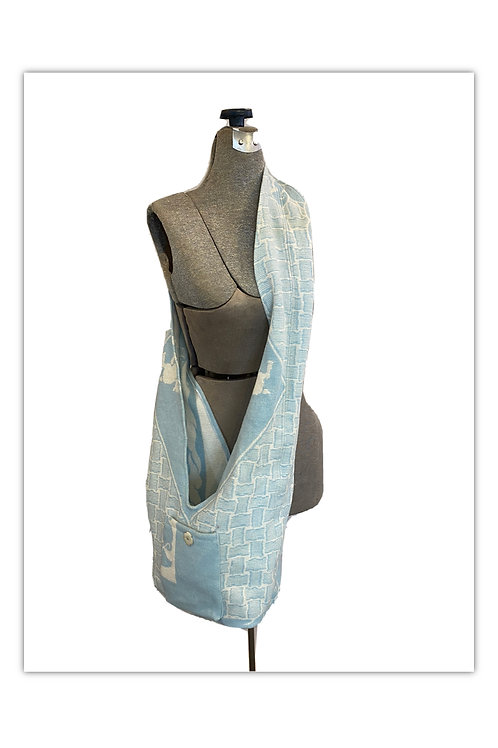 Vintage Cotton Blue White Flannel Tote