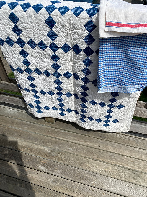 Vintage Blue and White Diamond Quilted Jacket