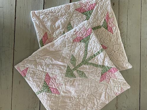 Vintage Quilt Tulip Pillow