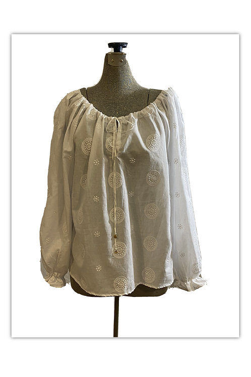 White Cotton Voile Embroidered Blouse