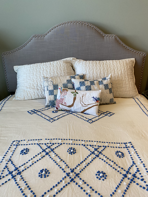 Vintage Embroidered Lumbar Pillow