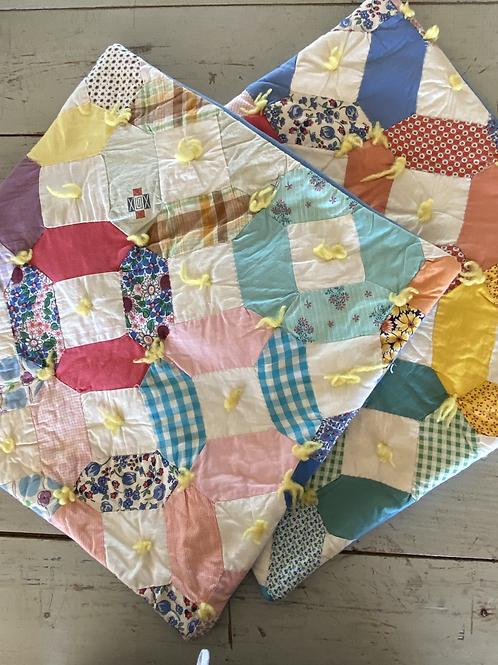 Vintage Hexagon Patchwork Square Pillow Cover