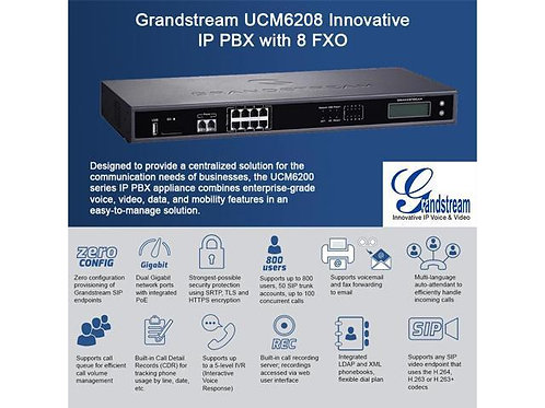 GRANDSTEAM-UCM6208(8 FXO, 2 FXS, 2 GigE, 800 Users)