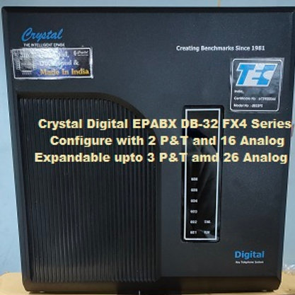 CRYSTAL DIGITAL EPABX DB-32 FX4-2 P&T AND 16 ANALOG