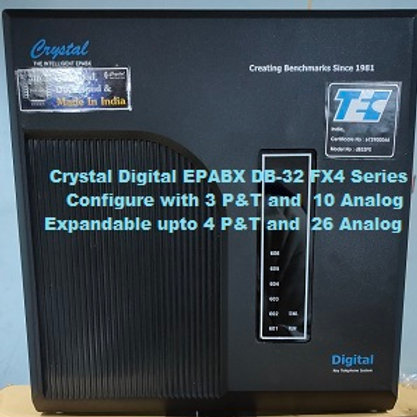 CRYSTAL DIGITAL EPABX DB-32 FX4 -3 P&T AND 10 ANALOG