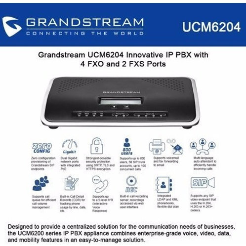 GRANDSTEAM-UCM6204( 4 FXO, 2 FXS, 2 GigE, 500 User)