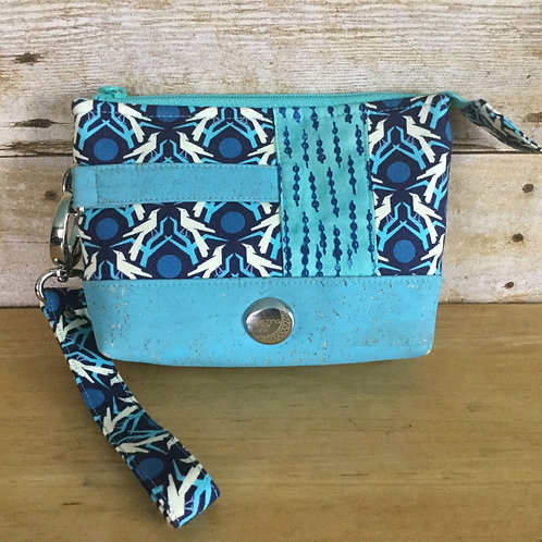Cork-accent wristlet - birds