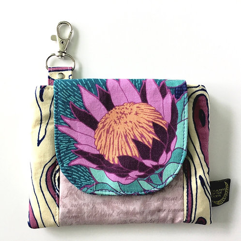 Mini clip wallet - purple floral