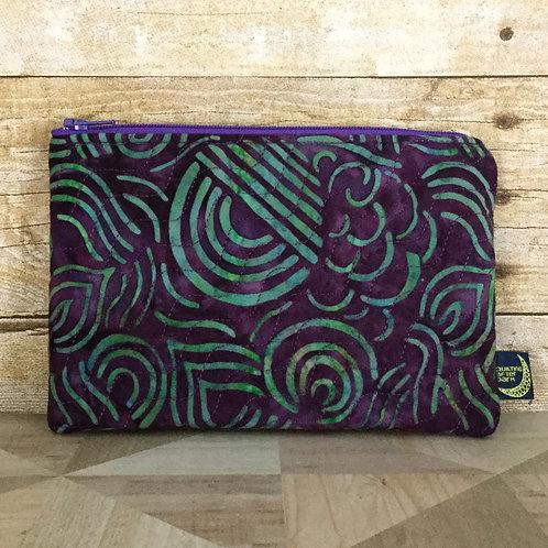 Zip pouch - purple batik