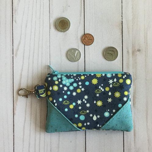 Cork coin purse - blue stars