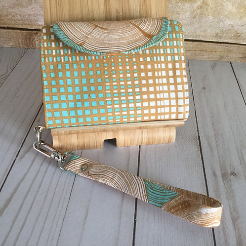 Layla wallet - teal woodcut
