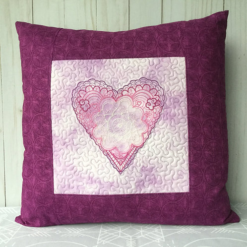Lacy Heart pillow cover