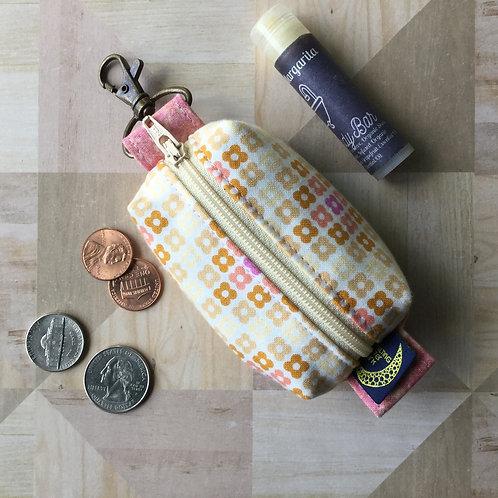 Mini clip pouch - caramel posies