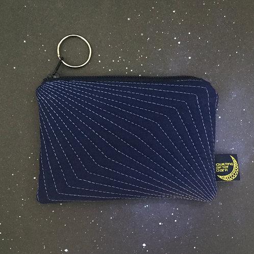 Card pouch - navy op-art