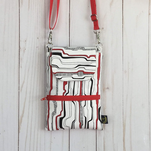 Phone crossbody - red & black waves