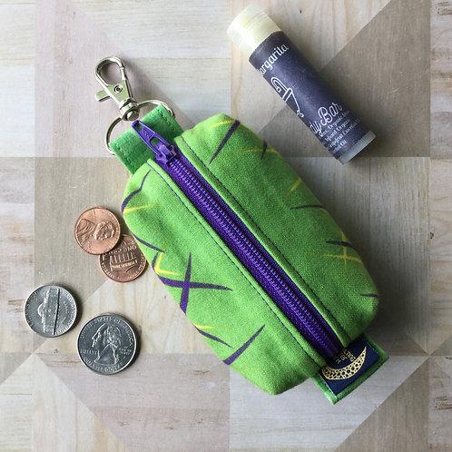 Mini clip pouch - purple grasses