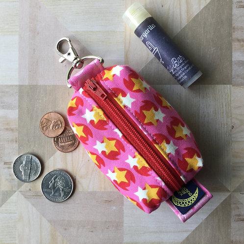 Mini clip pouch - pink stars